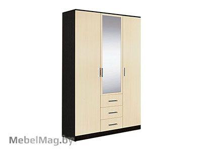 Шкаф 3-х створчатый комбинированный с зеркалом Венге - Светлана