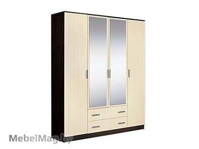 Шкаф 4-х створчатый комбинированный с зеркалами Венге - Светлана