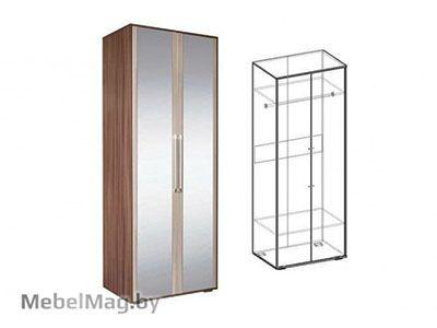 Шкаф 2х створчатый с зеркалом  Ясень шимо темный - Коллекция Берта 1