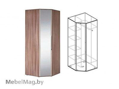 Шкаф угловой с зеркалом Ясень шимо темный - Коллекция Берта 1
