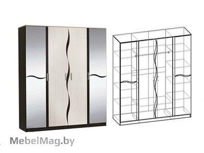 Шкаф 4-х створчатый Венге/Дуб молочный - Спальня Гардония