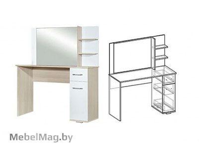 Туалетный стол Ясень шимо светлый/Белый глянец - Спальня Интегро