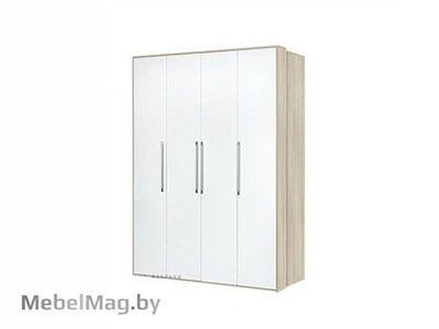 Шкаф 4х створчатый Ясень шимо светлый/Белый глянец - Спальня Интегро