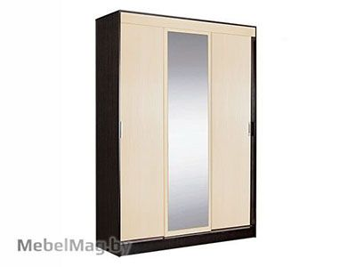 Шкаф-купе 3-х створчатый  с 1 зеркалом Венге - Коллекция Светлана