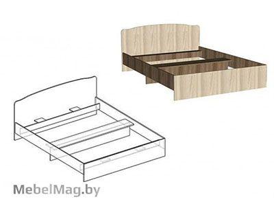Кровать двуспальная фигурная спинка 1400мм Ясень шимо - Светлана