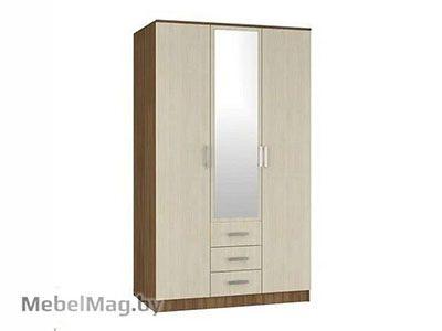 Шкаф 3-х створчатый комбинированный с зеркалом Ясень шимо - Светлана