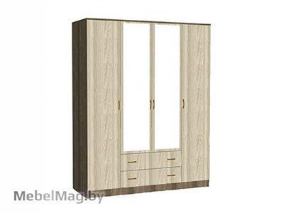 Шкаф 4-х створчатый комбинированный с зеркалом Ясень шимо - Светлана