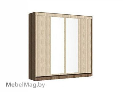 Шкаф-купе 4-х створчатый с 2 зеркалами Ясень Шимо - Светлана