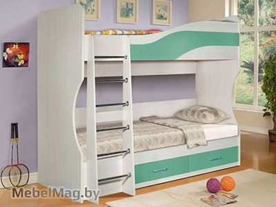 Кровать двухэтажная, Океан Зеленый - Детская Симба