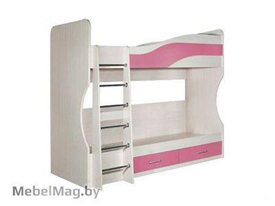 Кровать двухэтажная, Розовый - Детская Симба