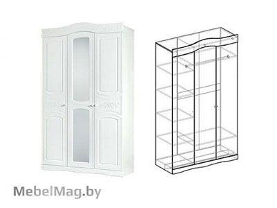 Шкаф 3х створчатый Белая 701 - Спальня Шарлота
