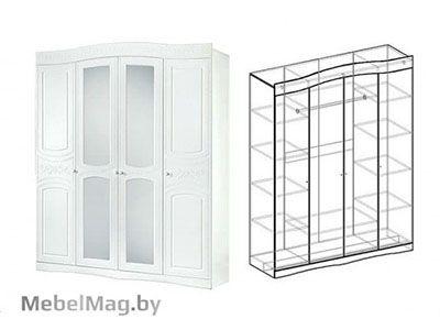 Шкаф 4х створчатый Белая 701 - Спальня Шарлота