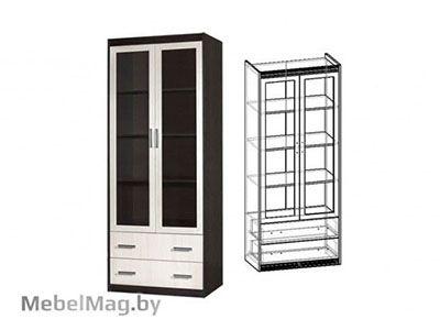 Шкаф 2-х створчатый с ящиками Венге/Дуб молочный - Стенка Амадеус