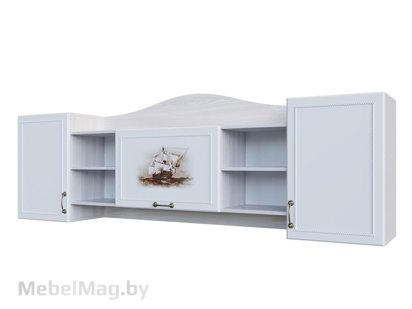 Полка навесная Ясень/ белая матовая/Море - Коллекция Акварель 1
