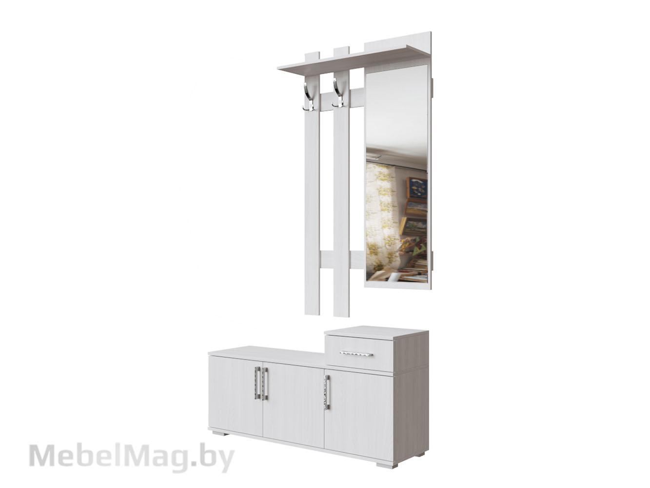 Вешалка с зеркалом 0,8м Ясень Анкор светлый - Прихожая №3