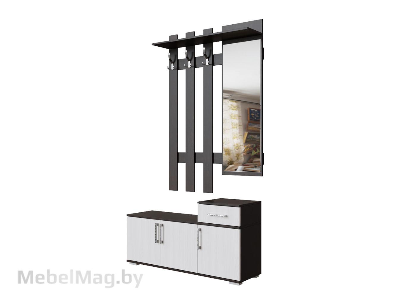 Вешалка с зеркалом 1,0м Венге/Ясень Анкор светлый - Прихожая №3