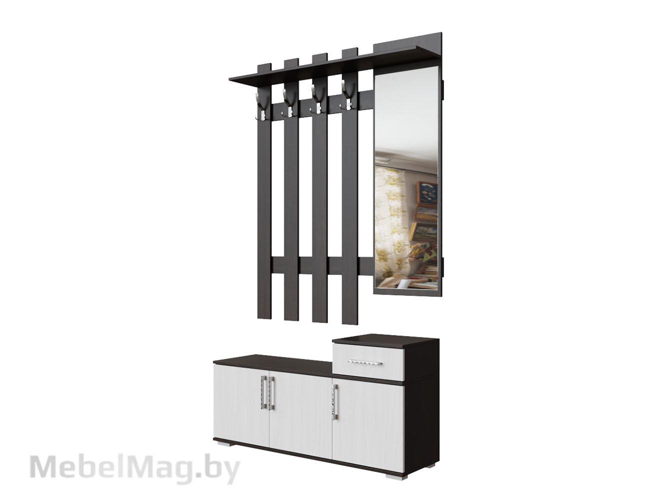 Вешалка с зеркалом 1,2м Венге/Ясень Анкор светлый - Прихожая №3