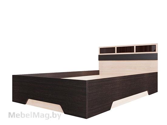 Кровать одинарная 0,9x2,0 Дуб Венге/ Дуб Млечный - Коллекция Эдем 2