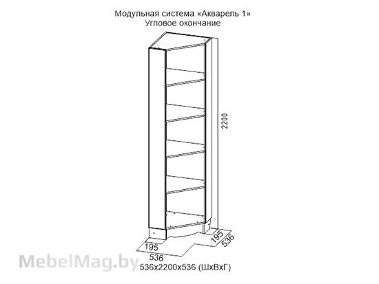 Угловое окончание Ясень анкор св/ белая матовая - Коллекция Акварель 1
