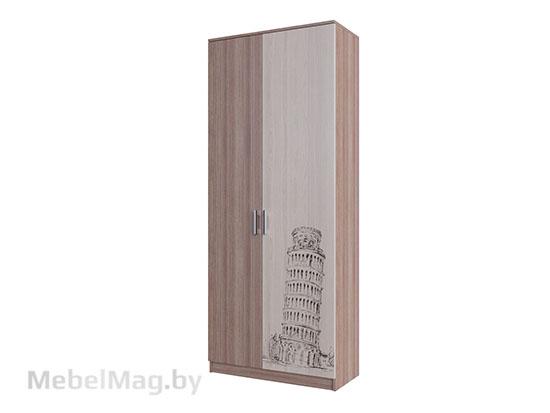 Шкаф двухстворчатый 800 Ясень Шимо тёмный/светлый - Коллекция Город