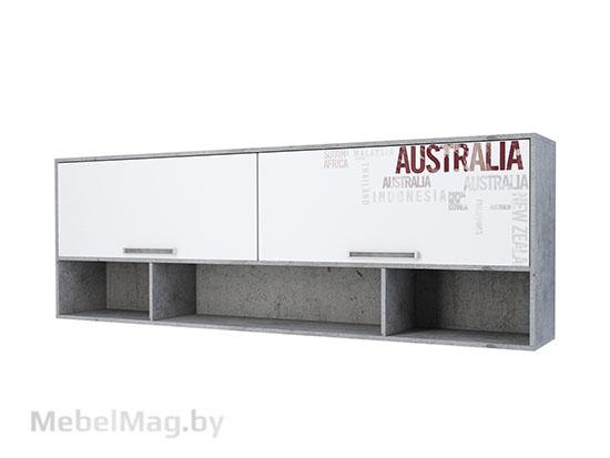 Полка навесная над кроватью Цемент св./Белый - Коллекция Грей