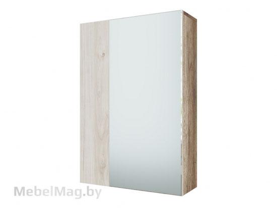 Шкаф с зеркалом навесной Каньон св. / Гикори св. - Коллекция Визит 1