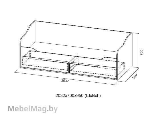Кровать-диван с ящиками 0,9x2,0 Цемент св./Белый - Коллекция Грей