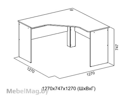 Стол письменный угловой Цемент св. - Коллекция Грей