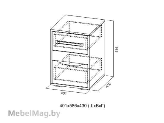 Тумба с ящиками Цемент св./Белый - Коллекция Грей
