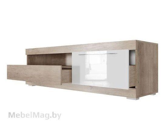 Тумба для ТВ с ящиками 1600 Каньон св./Белый глянец - Коллекция Ницца
