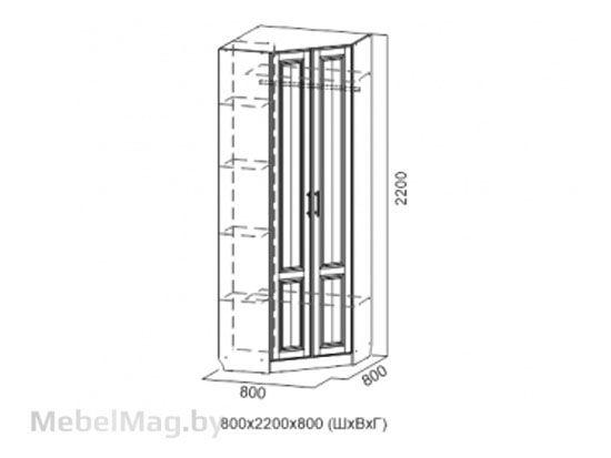 Шкаф угловой Дуб Сонома/Мускат структурный - Коллекция Прованс 1