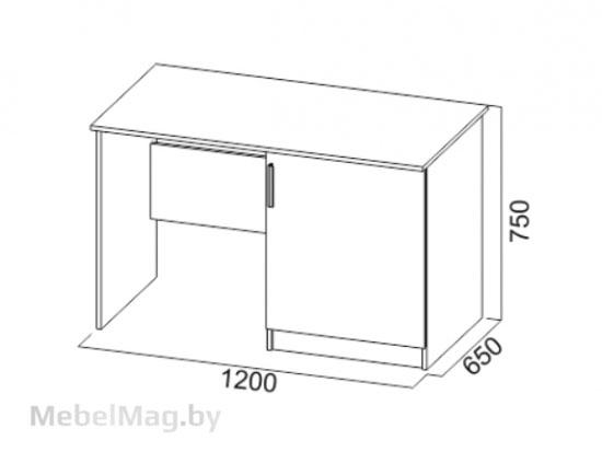 Стол с тумбой под холодильник Дуб Венге/ Дуб Сонома - Коллекция Эдем 5