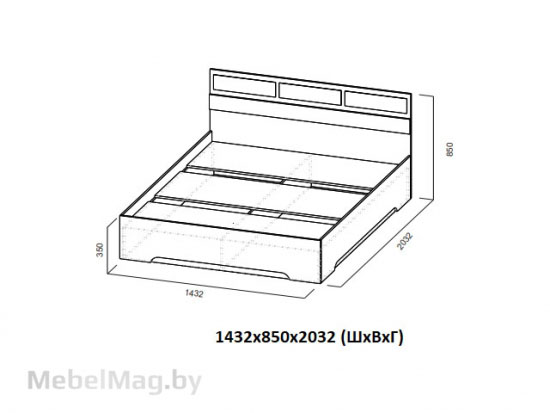 Кровать 1,4x2,0 Ясень Анкор светлый - Модульная система Николь 1