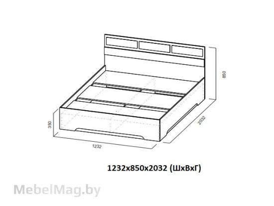 Кровать 1,2x2,0 Ясень Анкор светлый - Модульная система Николь 1