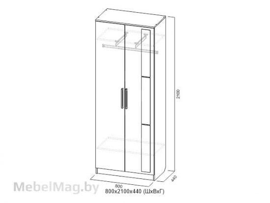 Шкаф двухств. унив-ный Ясень светлый - Модульная система Николь 1