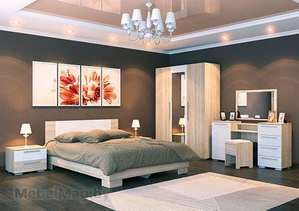 Спальня Лагуна 2 - Дуб Сонома/Белый глянец набор 2