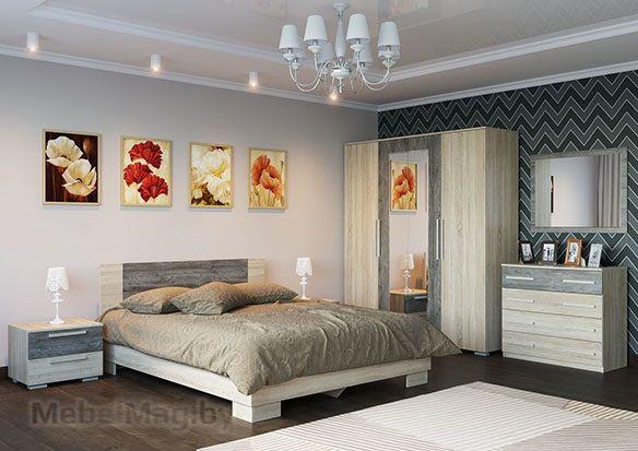 Спальня Лагуна 2 - Дуб Сонома/Сосна Джексон набор 2