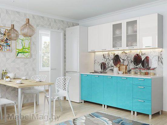 Кухня Модерн Бирюза/Белый