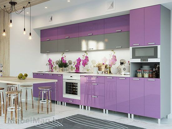 Кухня Модерн Фиолетовый металлик/Графит