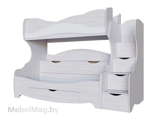 Кровать двухъярусная Ясень анкор св/белая матовая - Коллекция Акварель 1
