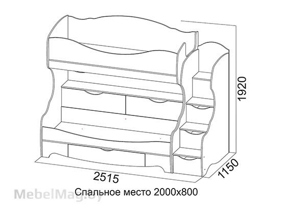 Кровать двухъярусная Ясень/белая матовая - Коллекция Акварель 1
