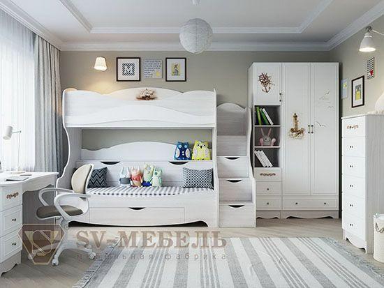 Кровать двухъярусная Ясень./ бел.мат./Море - Коллекция Акварель 1