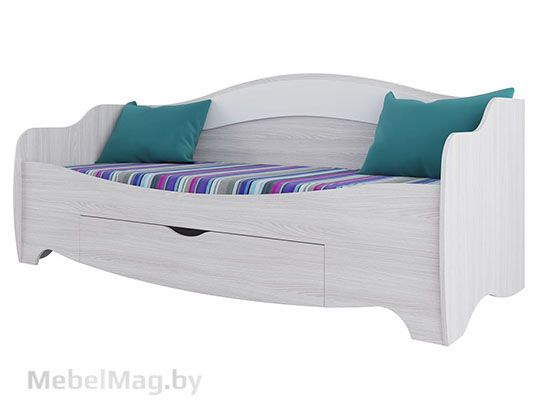 Кровать одинарная Ясень анкор / белая матовая - Коллекция Акварель 1