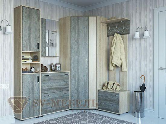 Шкаф с зеркалом навесной Дуб Сонома/ Сосна Джексон - Коллекция Визит 1