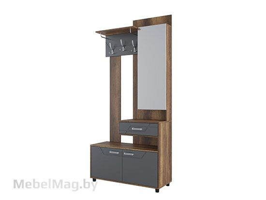 МДФ Вешалка с зеркалом Дуб Каньон/МДФ серый - Коллекция Визит 1