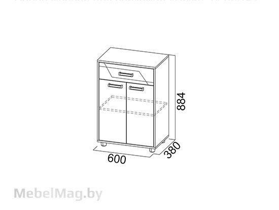 Тумба с ящиком Дуб Каньон/МДФ серый - Коллекция Визит 1