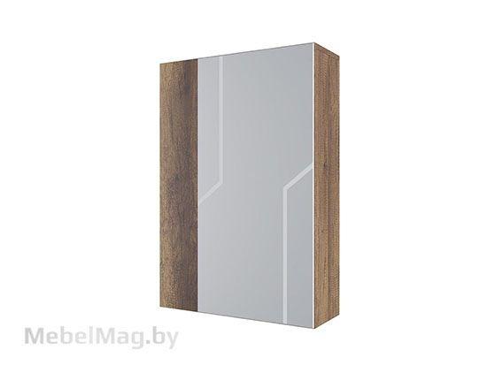 МДФ Шкаф с зеркалом навесной Дуб Каньон/МДФ серый - Коллекция Визит 1