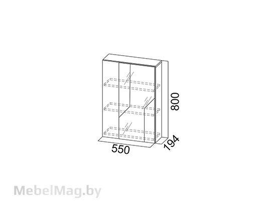 Шкаф с зеркалом навесной Дуб Каньон/МДФ серый - Коллекция Визит 1