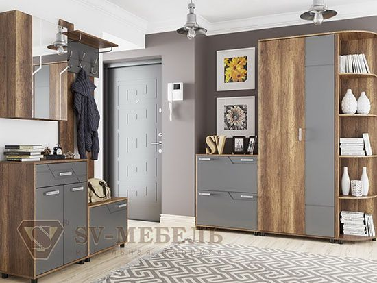 Шкаф двухств-ый комб-ый Дуб Каньон/МДФ серый - Коллекция Визит 1