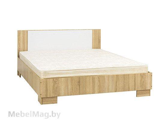 Кровать двойная 1,6*2,0 Дуб Сонома/Белый Глянец - Коллекция Грей